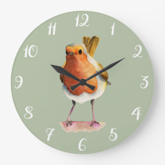 Robin Bird Watercolor Painting Large Clock