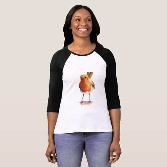Robin Bird Watercolor Painting T-Shirt
