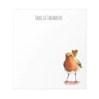 Robin Bird Watercolor Painting with Name Notepad