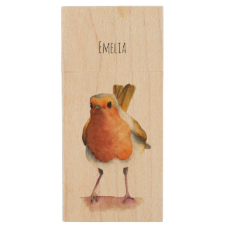 Robin Bird Watercolor Painting Wood USB Flash Drive