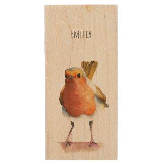 Robin Bird Watercolor Painting Wood USB Flash Drive