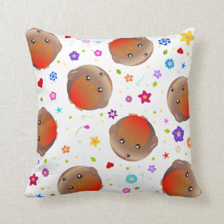 Robin birds and flowers - white cushion