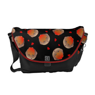 Robin birds and hearts girls black school bag courier bags