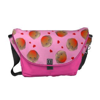 Robin birds and hearts girls pink school bag messenger bag