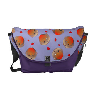 Robin birds and hearts girls purple bag courier bags