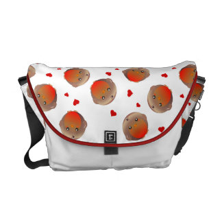 Robin birds and hearts girls white bag commuter bags