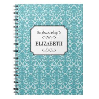 Robin blue damask custom wedding planner journal