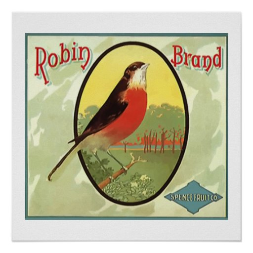 Robin Brand Fruit Crate Label Print