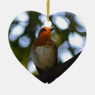 Robin Ceramic Heart Decoration