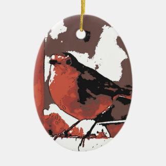 Robin Ceramic Oval Decoration