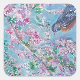 Robin & Cherry Blossom Watercolor Square Sticker