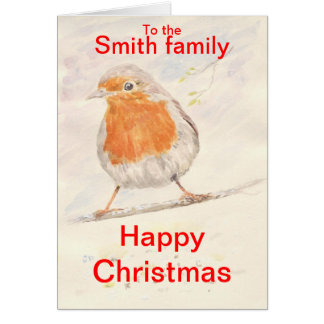Robin Christmas Card add name(s) front