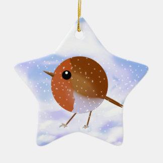 Robin Christmas Snow Scene Christmas Ornament