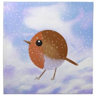 Robin Christmas Snow Scene Napkin