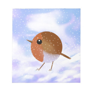 Robin Christmas Snow Scene Notepad