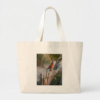 Robin eating Crab Large Tote Bag