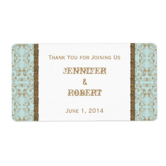 Robin Egg Blue and Gold Damask Wedding Water Shipping Label
