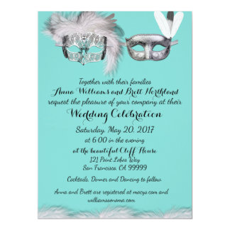 Robin Egg Blue and White Masquerade Wedding Card