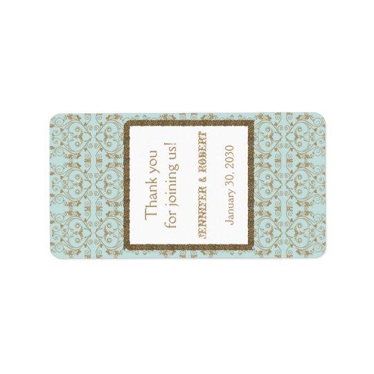 Robin Egg Blue Gold Damask Wedding Lip Balm Label