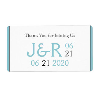 Robin Egg Blue Initials Posh Water Bottle Label Shipping Label