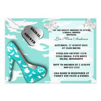 Robin Egg Blue Military Bridal Shower Invites