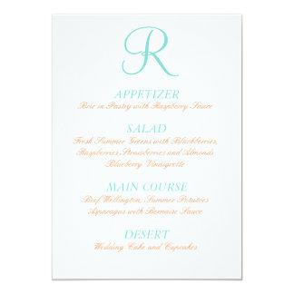 "Robin Egg Blue Orange Wedding Menu Simple Initial 5"" X 7"" Invitation Card"