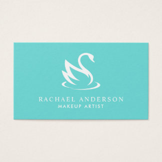 Robin Egg Blue Swan Logo Minimalist Business Card