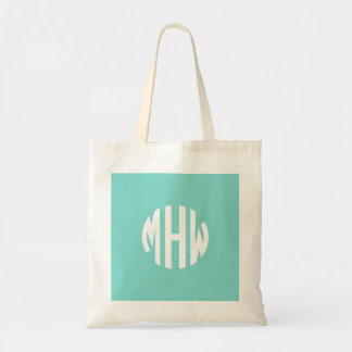 Robin Egg White 3 Initials in a Circle Monogram Tote Bag