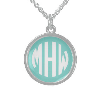 Robin Egg White 3 Initials in a Circle Monogram Round Pendant Necklace