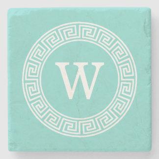 Robin Egg Wht Greek Key Rnd Frame Initial Monogram Stone Coaster