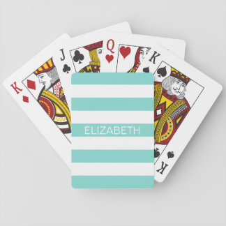 Robin Egg Wht Horiz Preppy Stripe Name Monogram Playing Cards