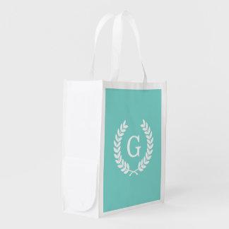 Robin Egg Wht Wheat Laurel Wreath Initial Monogram Reusable Grocery Bag