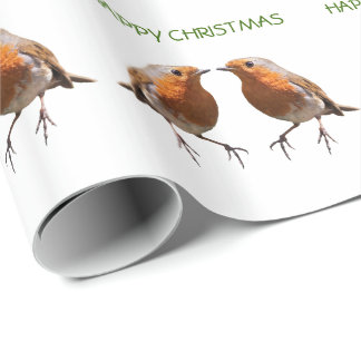 Robin Frenzy Wrapping Paper - Happy Christmas