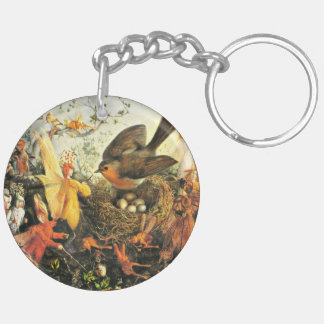 Robin Guarding Eggs from Faeries Double-Sided Round Acrylic Keychain