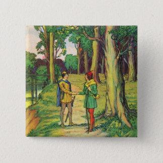 Robin Hood And Little John 15 Cm Square Badge