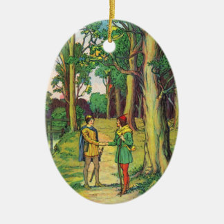 Robin Hood And Little John Ceramic Oval Decoration