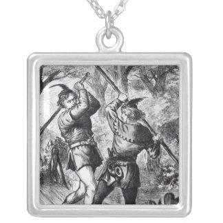 Robin Hood and Little John Silver Plated Necklace