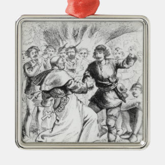 Robin Hood and the Bishop Silver-Colored Square Decoration