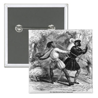 Robin Hood and the Tanner with Quarter-staffs 15 Cm Square Badge