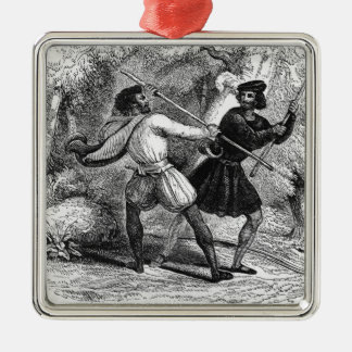Robin Hood and the Tanner with Quarter-staffs Christmas Ornament