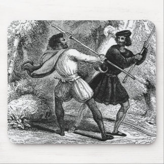 Robin Hood and the Tanner with Quarter-staffs Mousepad