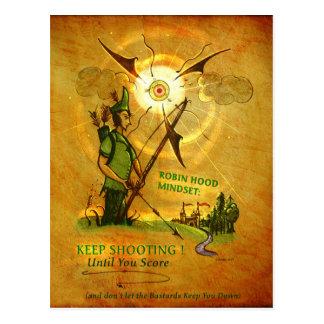 Robin Hood encouraging postcard