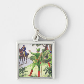 Robin Hood, from 'Peeps into the Past', published Silver-Colored Square Key Ring
