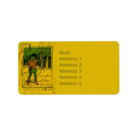 Robin Hood, His Bow and Arrow Address Label