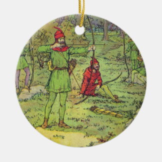 Robin Hood In The Forest Round Ceramic Decoration