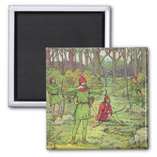 Robin Hood In The Forest Square Magnet