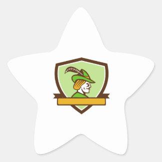 Robin Hood Side Ribbon Crest Retro Star Sticker