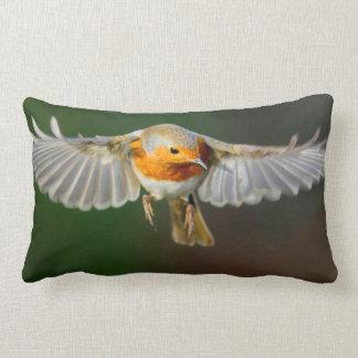 Robin hovering in flight pillow