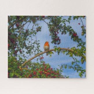 Robin in a Hawthorn Tree Jigsaw Puzzle