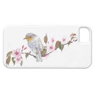 Robin in blossom phone case